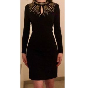 💛 Thalia Sodi Black Dress w/ Silver&Gold Neckline